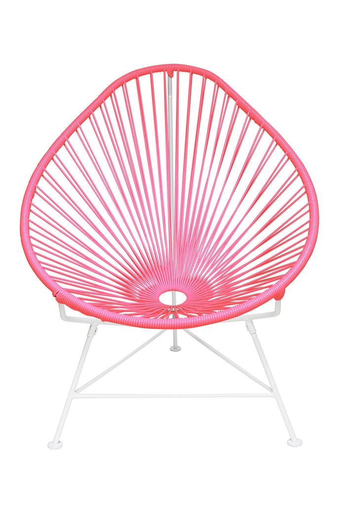 Outdoor Lounge Chair Pink Weave on White Frame Acapulco Chair on White Frame