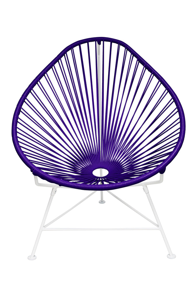 Outdoor Lounge Chair Purple Weave on White Frame Acapulco Chair on White Frame