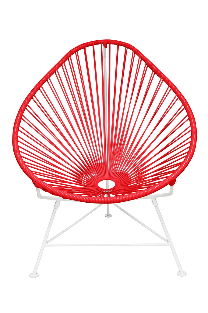 Outdoor Lounge Chair Red Weave on White Frame Acapulco Chair on White Frame