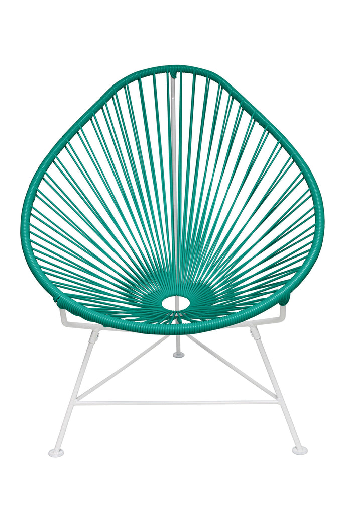 Outdoor Lounge Chair Turquoise Weave on White Frame Acapulco Chair on White Frame