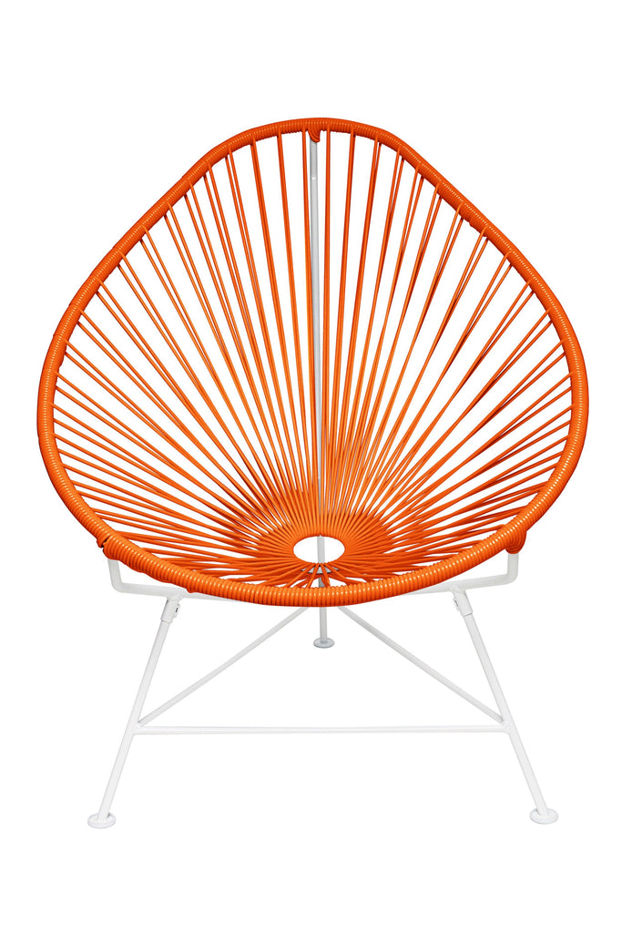 Outdoor Lounge Chair Orange Weave on White Frame Acapulco Chair on White Frame