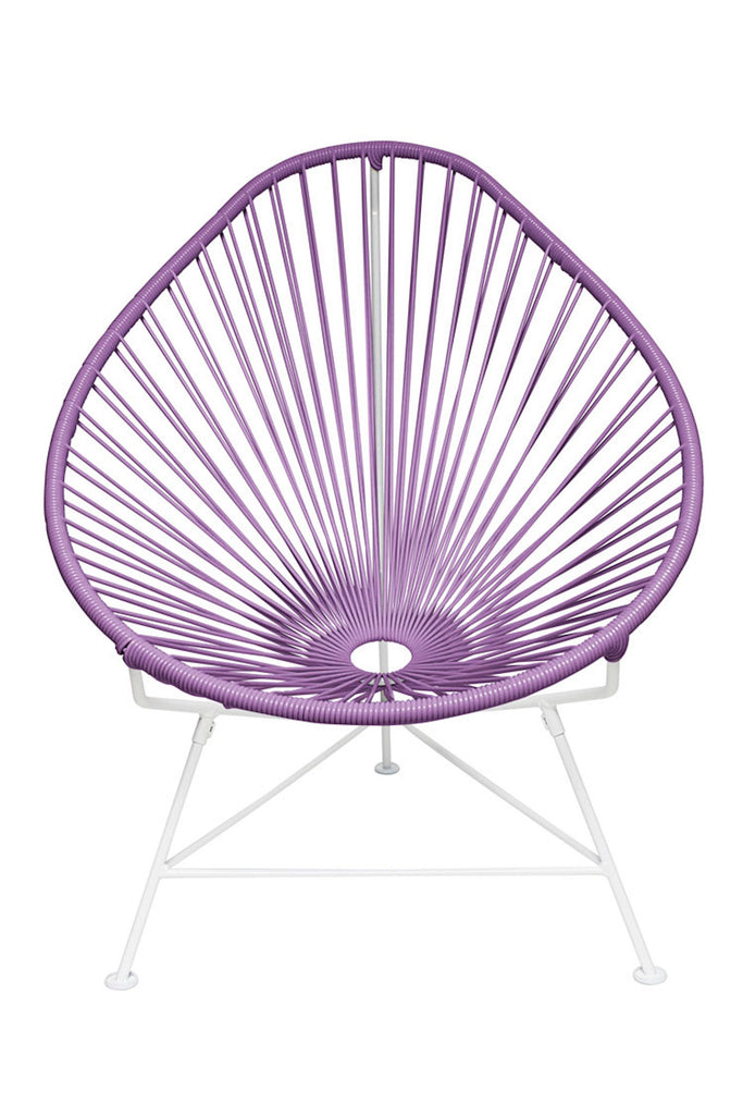 Outdoor Lounge Chair Orchid Weave on White Frame Acapulco Chair on White Frame