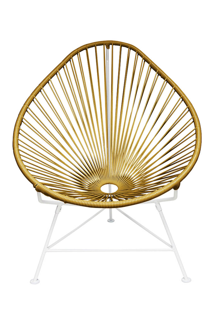 Outdoor Lounge Chair Gold Weave on White Frame Acapulco Chair on White Frame