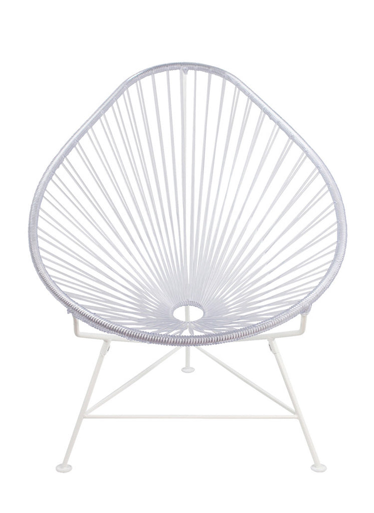 Outdoor Lounge Chair Clear Weave on White Frame Acapulco Chair on White Frame