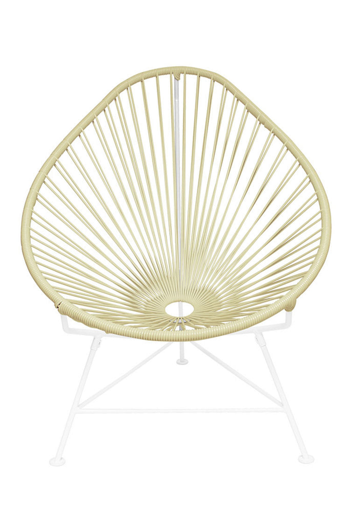 Outdoor Lounge Chair Ivory Weave on White Frame Acapulco Chair on White Frame