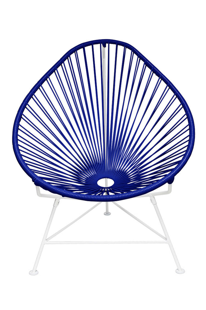 Outdoor Lounge Chair Deep Blue Weave on White Frame Acapulco Chair on White Frame