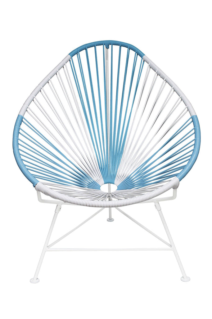 Outdoor Lounge Chair Argentina Weave on White Frame Acapulco Chair on White Frame
