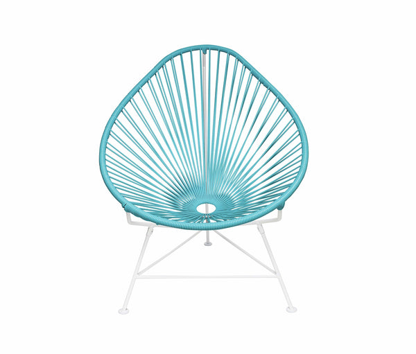 Outdoor Lounge Chair Blue Weave on White Frame Acapulco Chair on White Frame