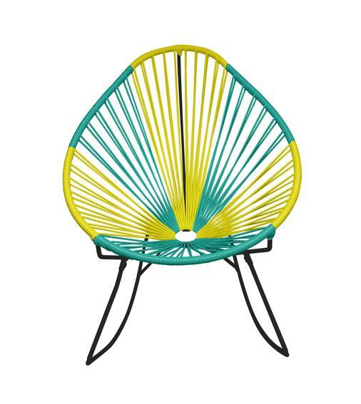Outdoor Lounge Chair Brazil Weave on Black Frame Acapulco Rocker on Black Frame