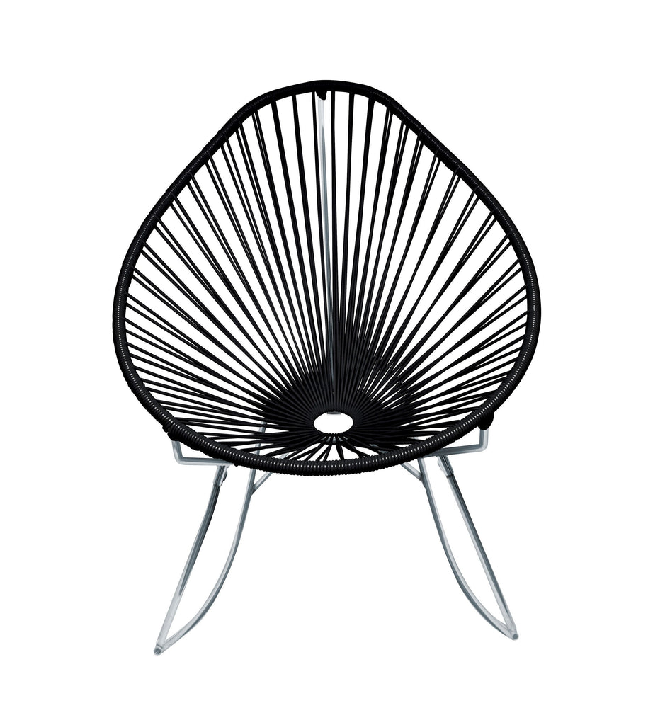 Outdoor Lounge Chair Black Weave on Chrome Frame Acapulco Rocker on Chrome Frame