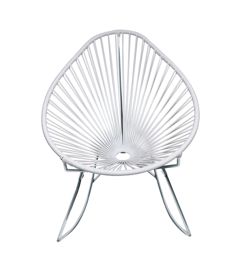Outdoor Lounge Chair White Weave on Chrome Frame Acapulco Rocker on Chrome Frame