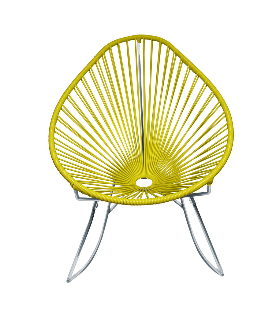 Outdoor Lounge Chair Yellow Weave on Chrome Frame Acapulco Rocker on Chrome Frame