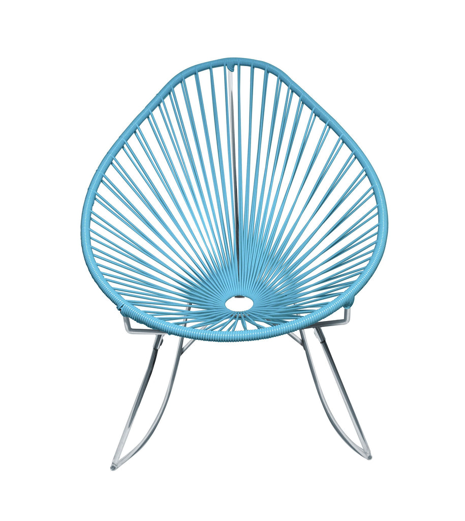 Outdoor Lounge Chair Blue Weave on Chrome Frame Acapulco Rocker on Chrome Frame