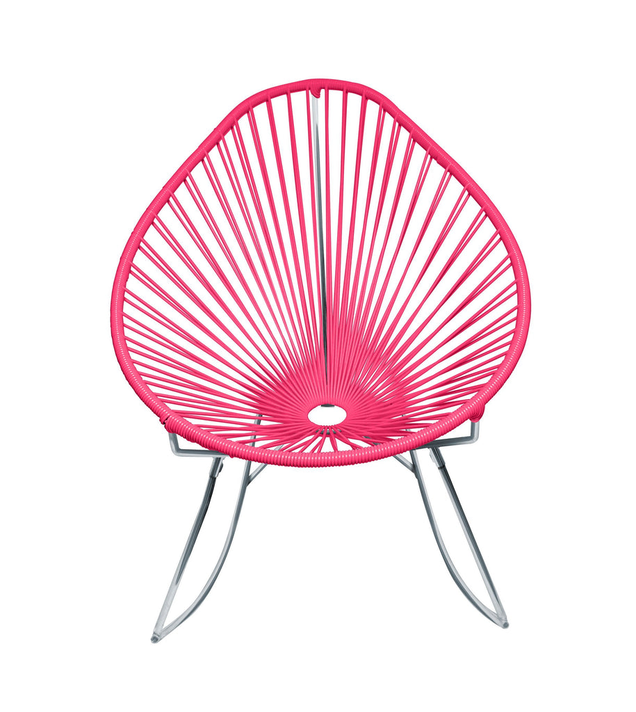 Outdoor Lounge Chair Pink Weave on Chrome Frame Acapulco Rocker on Chrome Frame