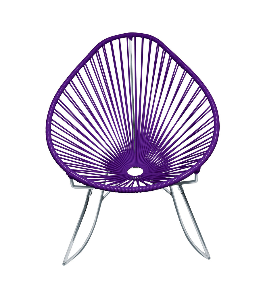 Outdoor Lounge Chair Purple Weave on Chrome Frame Acapulco Rocker on Chrome Frame