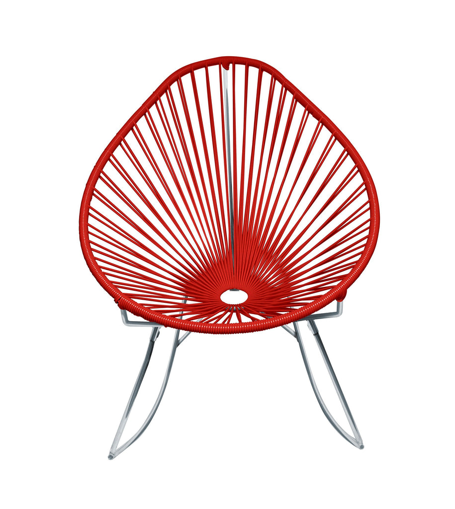 Outdoor Lounge Chair Red Weave on Chrome Frame Acapulco Rocker on Chrome Frame