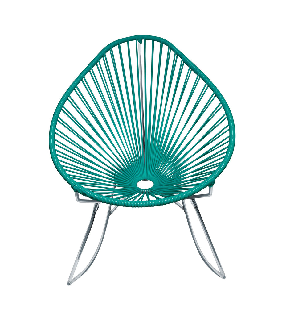Outdoor Lounge Chair Turquoise Weave on Chrome Frame Acapulco Rocker on Chrome Frame