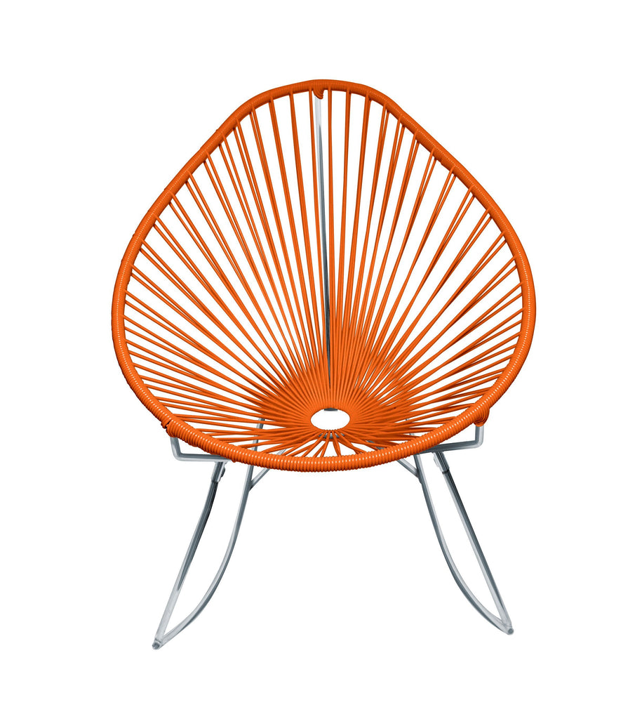 Outdoor Lounge Chair Orange Weave on Chrome Frame Acapulco Rocker on Chrome Frame