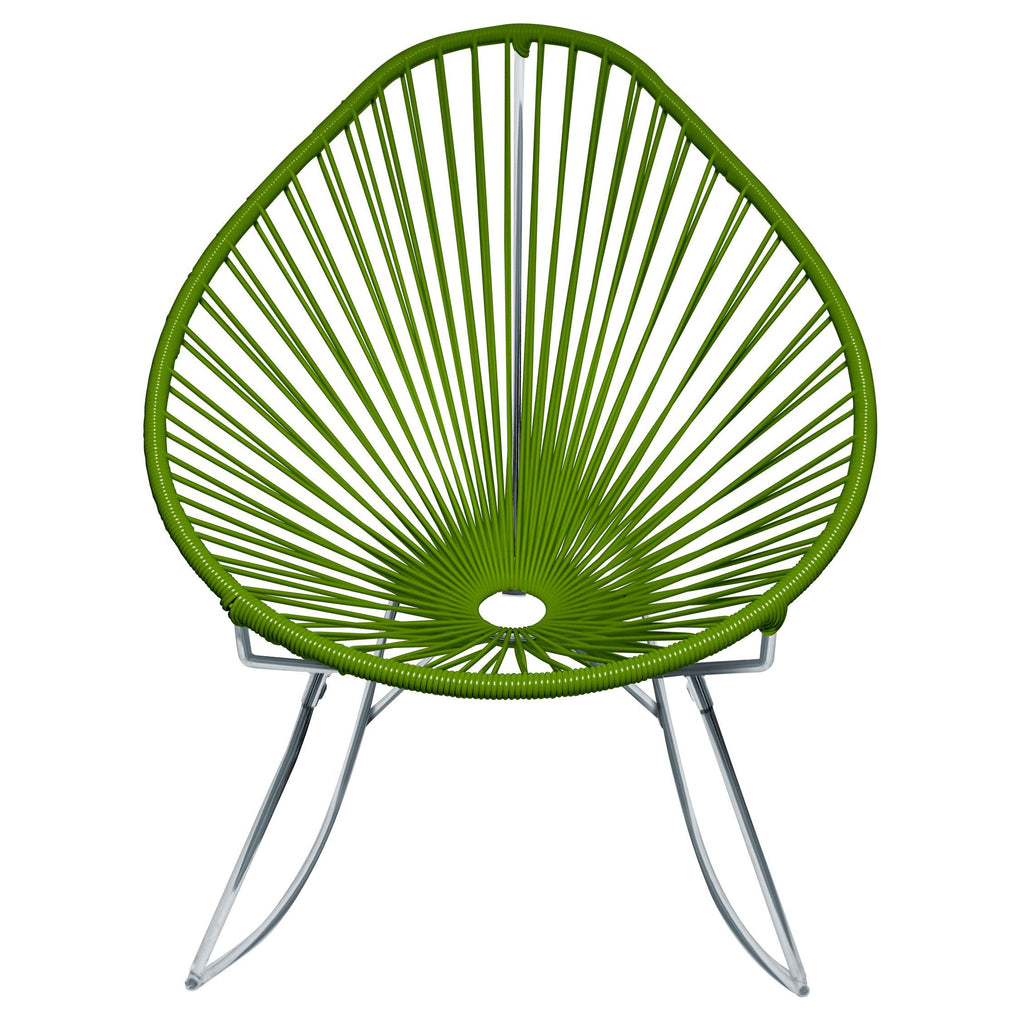 Outdoor Lounge Chair Cactus Weave on Chrome Frame Acapulco Rocker on Chrome Frame