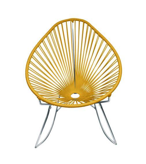 Outdoor Lounge Chair Caramel Weave on Chrome Acapulco Rocker on Chrome Frame