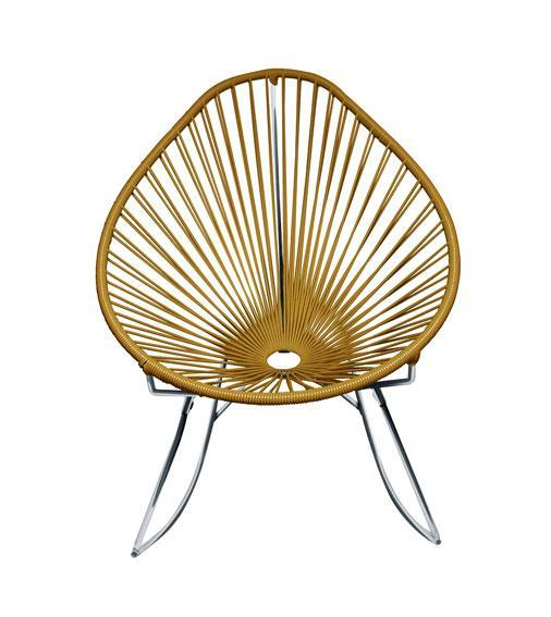 Outdoor Lounge Chair Gold Weave on Chrome Frame Acapulco Rocker on Chrome Frame