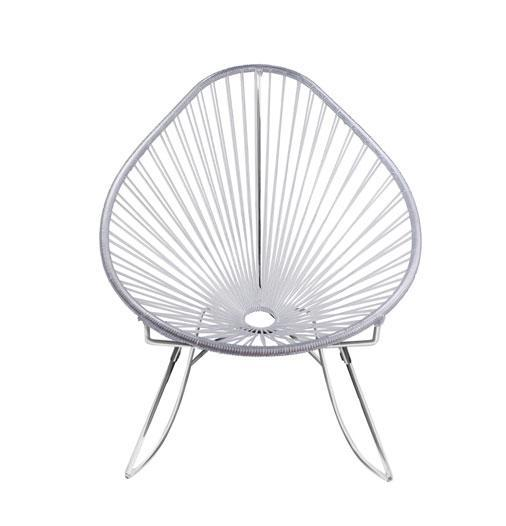 Outdoor Lounge Chair Clear Weave on Chrome frame Acapulco Rocker on Chrome Frame