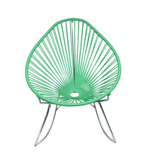 Outdoor Lounge Chair Mint Weave on Chrome frame Acapulco Rocker on Chrome Frame