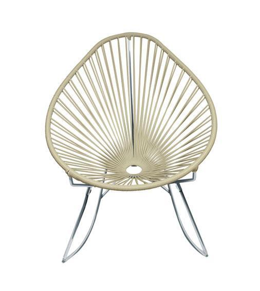 Outdoor Lounge Chair Ivory Weave on Chrome frame Acapulco Rocker on Chrome Frame
