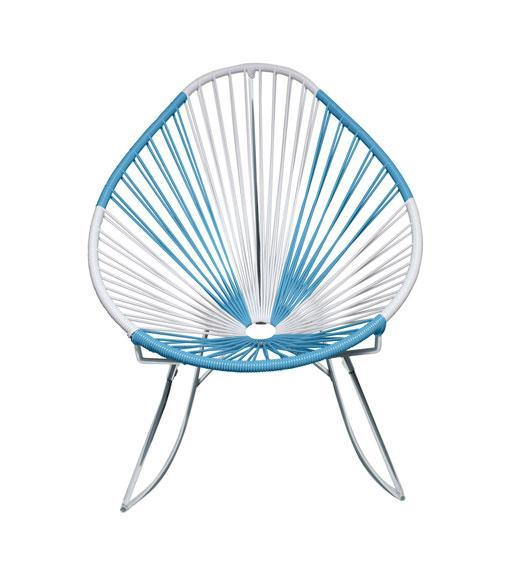 Outdoor Lounge Chair Argentina Weave on Chrome Frame Acapulco Rocker on Chrome Frame