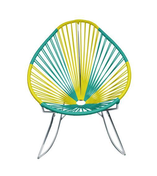 Outdoor Lounge Chair Brazil Weave on Chrome Frame Acapulco Rocker on Chrome Frame