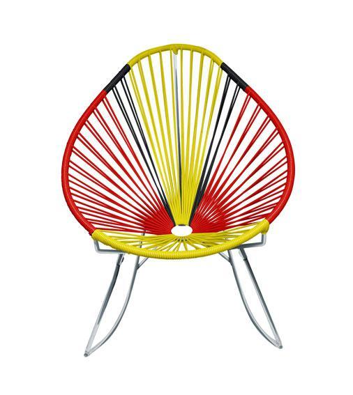 Outdoor Lounge Chair Germany Weave on Chrome Frame Acapulco Rocker on Chrome Frame