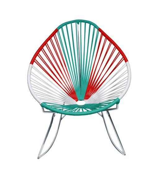 Outdoor Lounge Chair Mexico Weave on Chrome Frame Acapulco Rocker on Chrome Frame