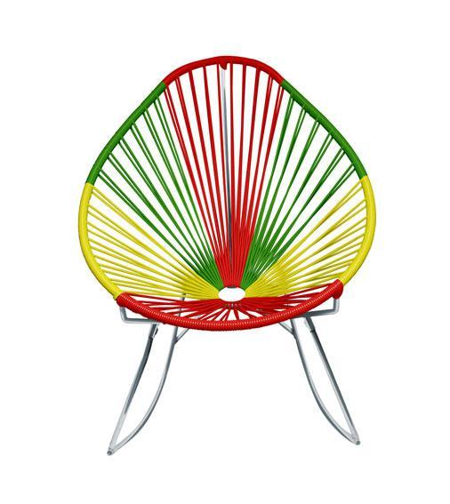 Outdoor Lounge Chair Portugal Weave on Chrome Frame Acapulco Rocker on Chrome Frame
