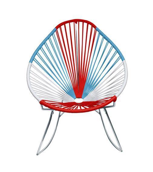 Outdoor Lounge Chair USA Weave on Chrome  Frame Acapulco Rocker on Chrome Frame