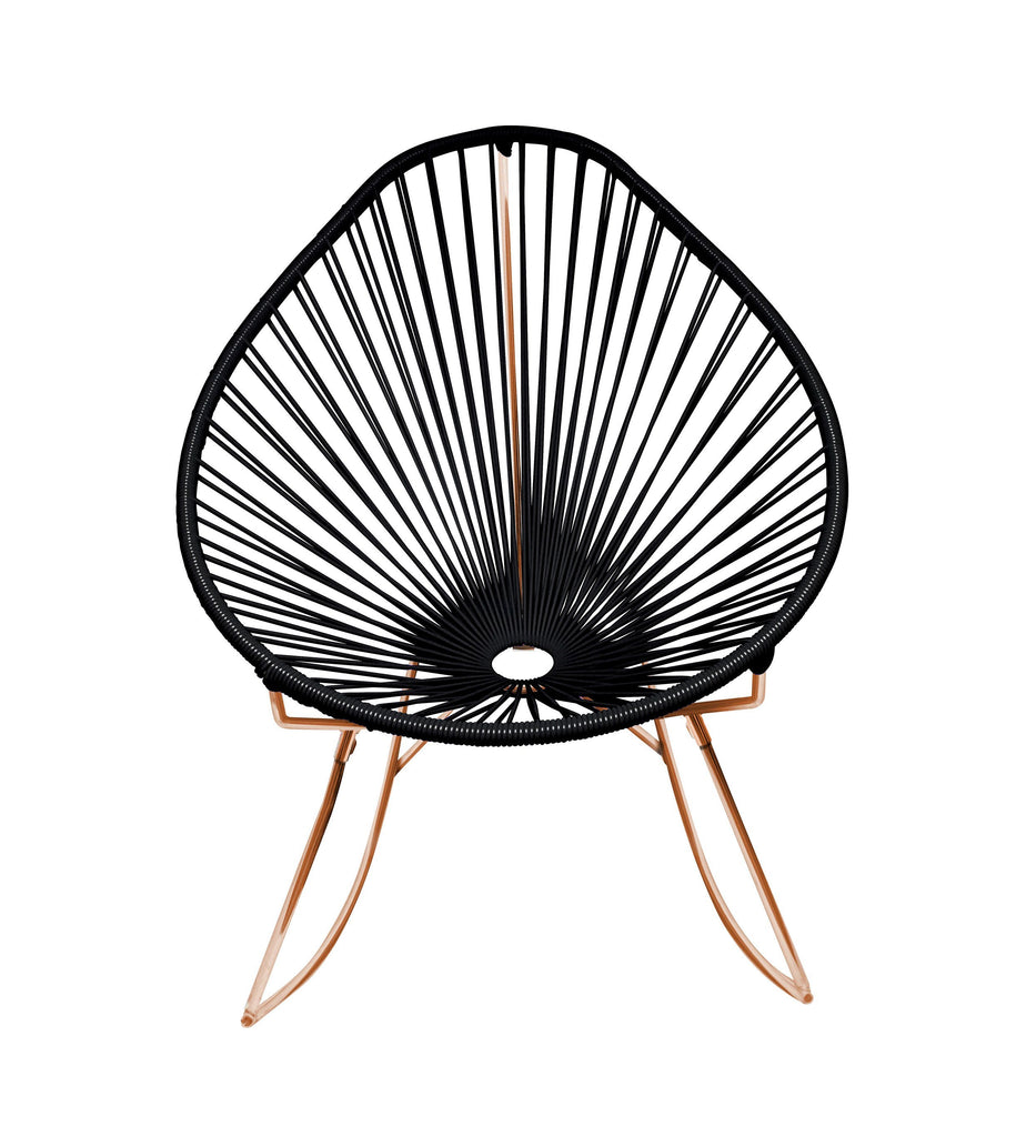 Outdoor Lounge Chair Black Weave on Copper Frame Acapulco Rocker on Copper Frame