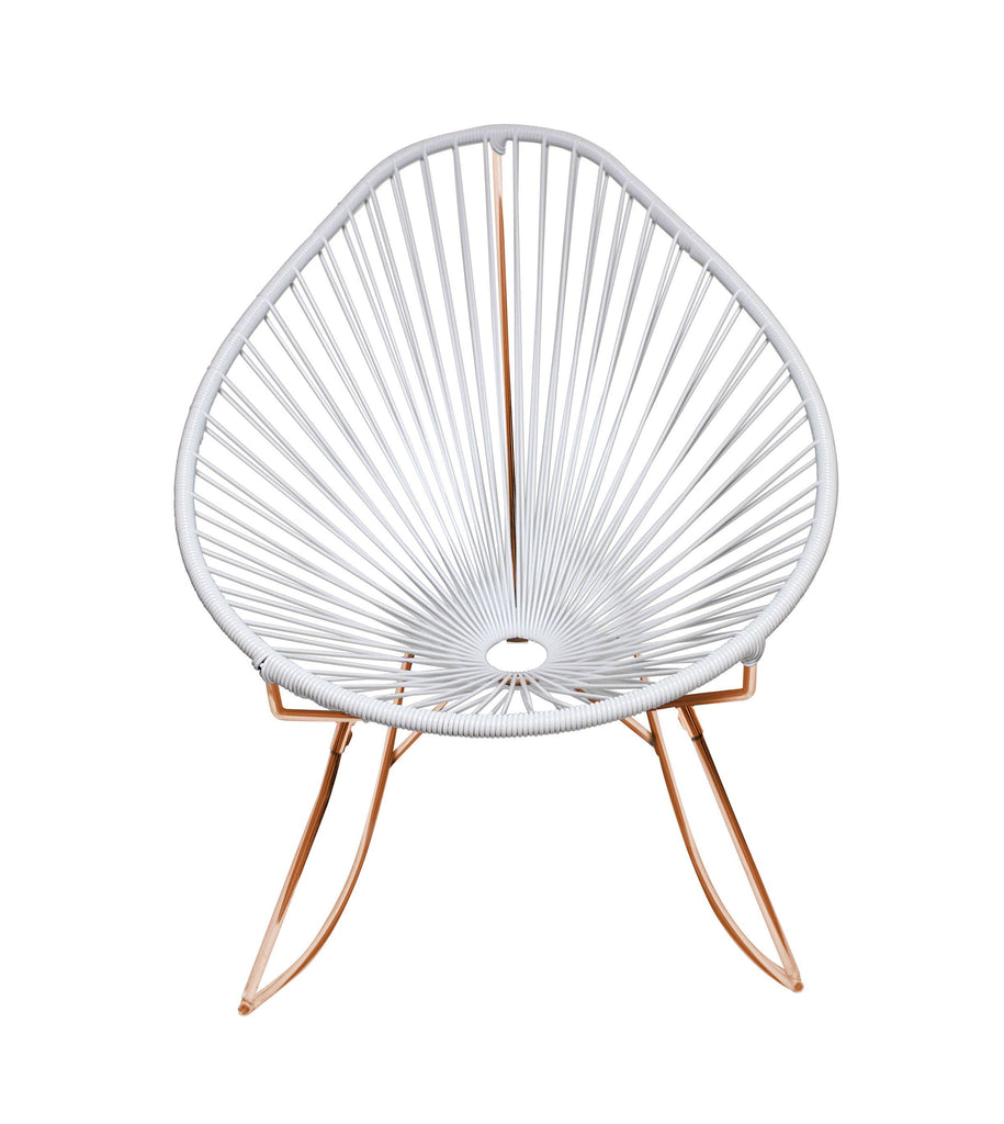 Outdoor Lounge Chair White Weave on Copper Frame Acapulco Rocker on Copper Frame