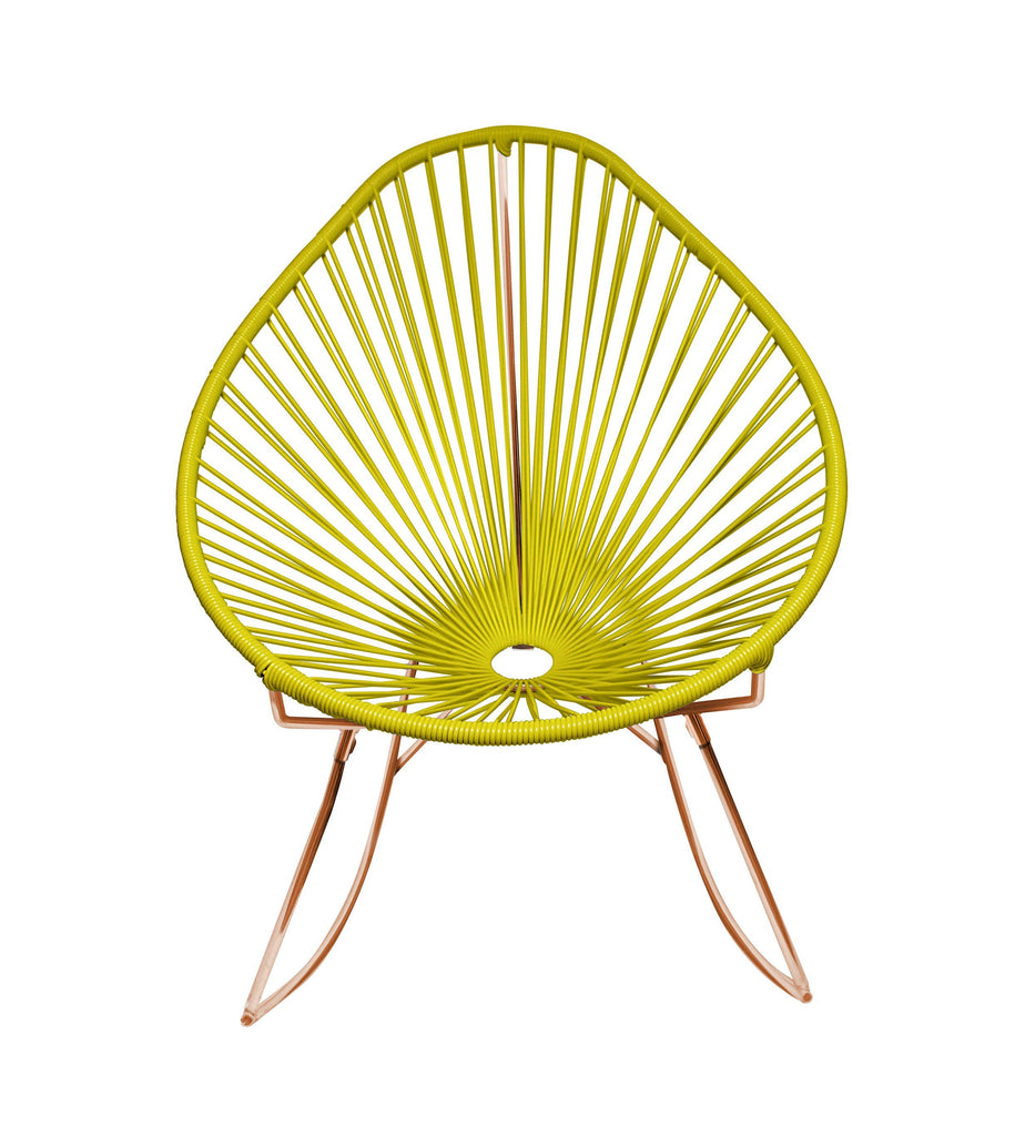 Outdoor Lounge Chair Yellow Weave on Copper Frame Acapulco Rocker on Copper Frame