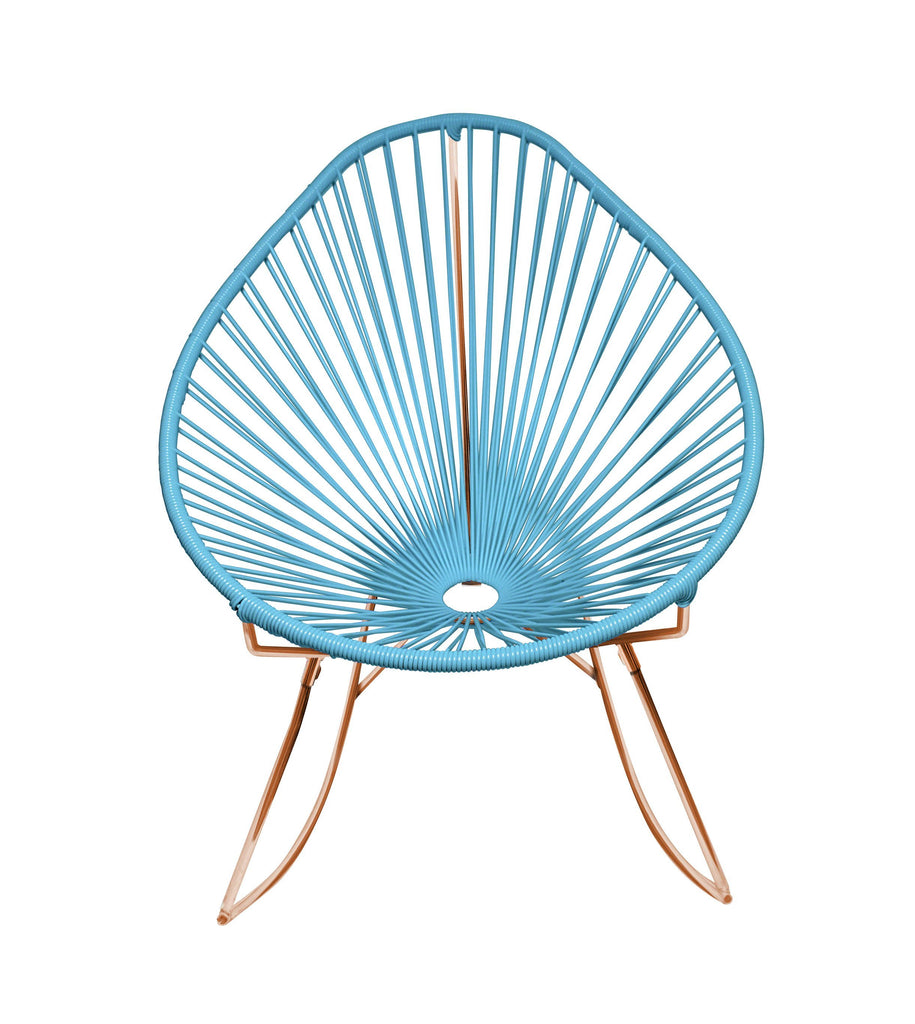 Outdoor Lounge Chair Blue Weave on Copper Frame Acapulco Rocker on Copper Frame