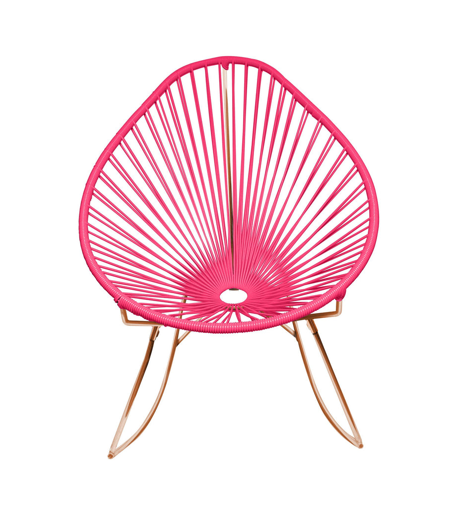 Outdoor Lounge Chair Pink Weave on Copper Frame Acapulco Rocker on Copper Frame