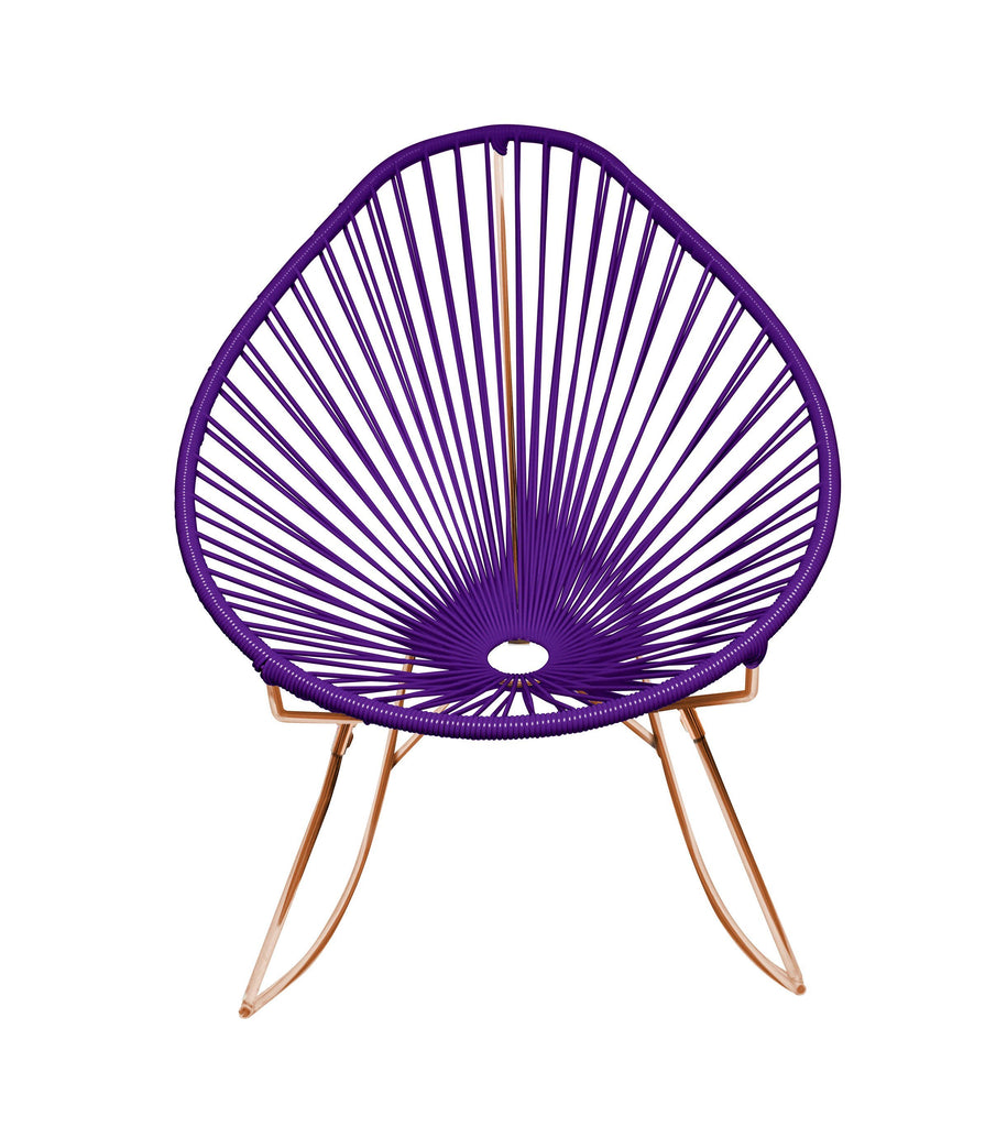 Outdoor Lounge Chair Purple Weave on Copper Frame Acapulco Rocker on Copper Frame