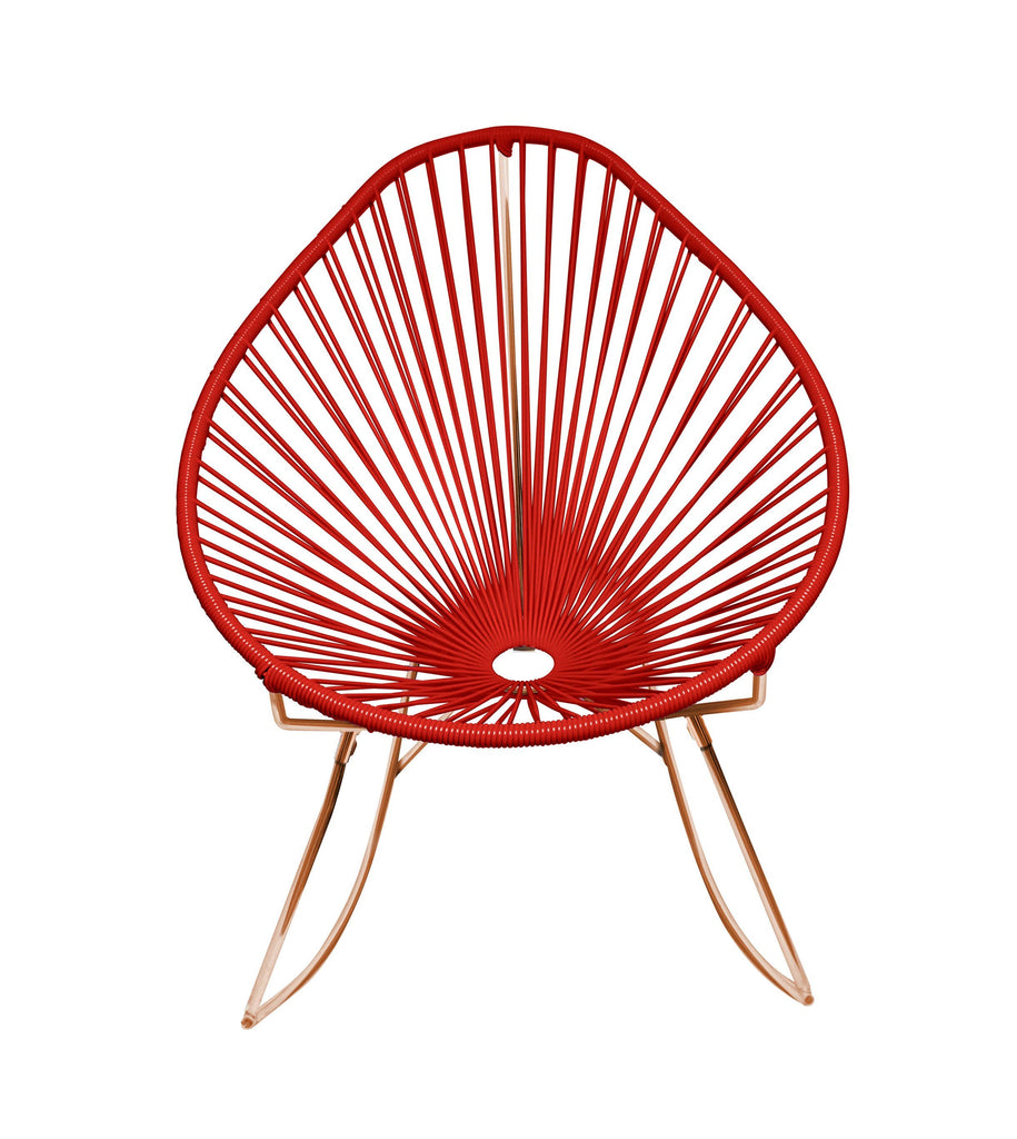 Outdoor Lounge Chair Red Weave on Copper Frame Acapulco Rocker on Copper Frame