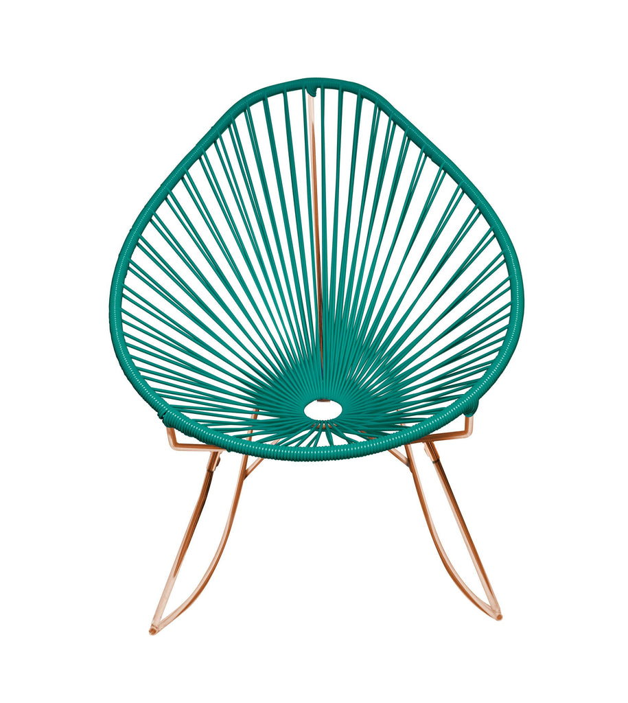 Outdoor Lounge Chair Turquoise Weave on Copper Frame Acapulco Rocker on Copper Frame
