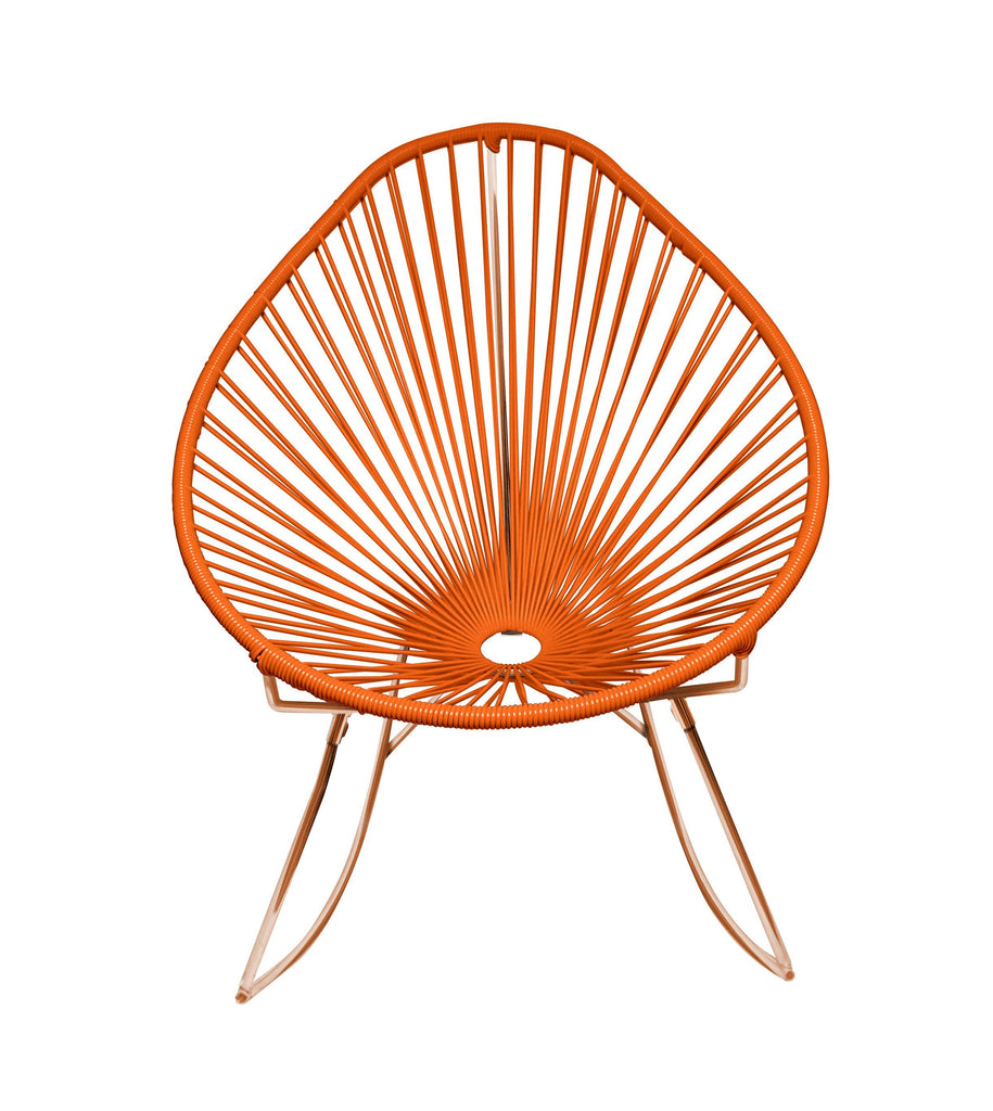 Outdoor Lounge Chair Orange Weave on Copper Frame Acapulco Rocker on Copper Frame