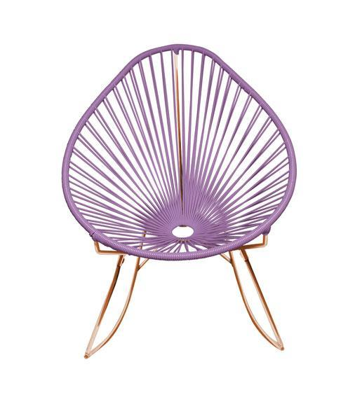 Outdoor Lounge Chair Orchid Weave on Copper Frame Acapulco Rocker on Copper Frame