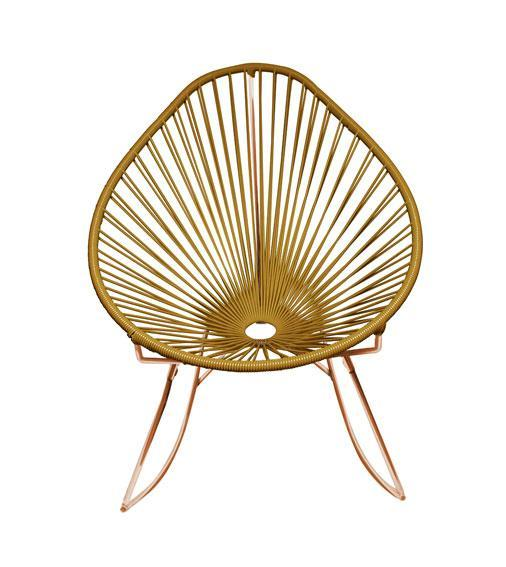 Outdoor Lounge Chair Gold Weave on Copper Frame Acapulco Rocker on Copper Frame