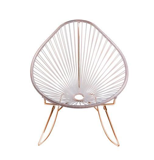 Outdoor Lounge Chair Clear Weave on Copper Frame Acapulco Rocker on Copper Frame
