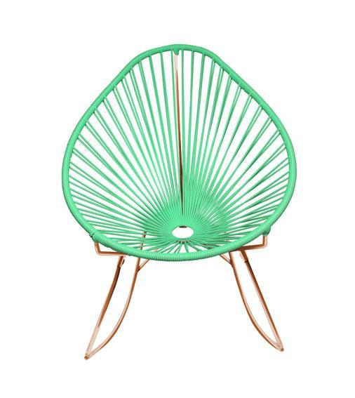 Outdoor Lounge Chair Mint Weave on Copper Frame Acapulco Rocker on Copper Frame