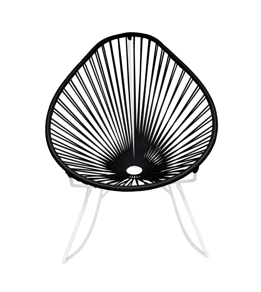Outdoor Lounge Chair Black Weave on White Frame Acapulco Rocker on White Frame
