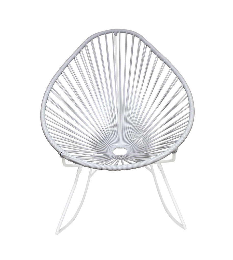 Outdoor Lounge Chair White Weave on White Frame Acapulco Rocker on White Frame