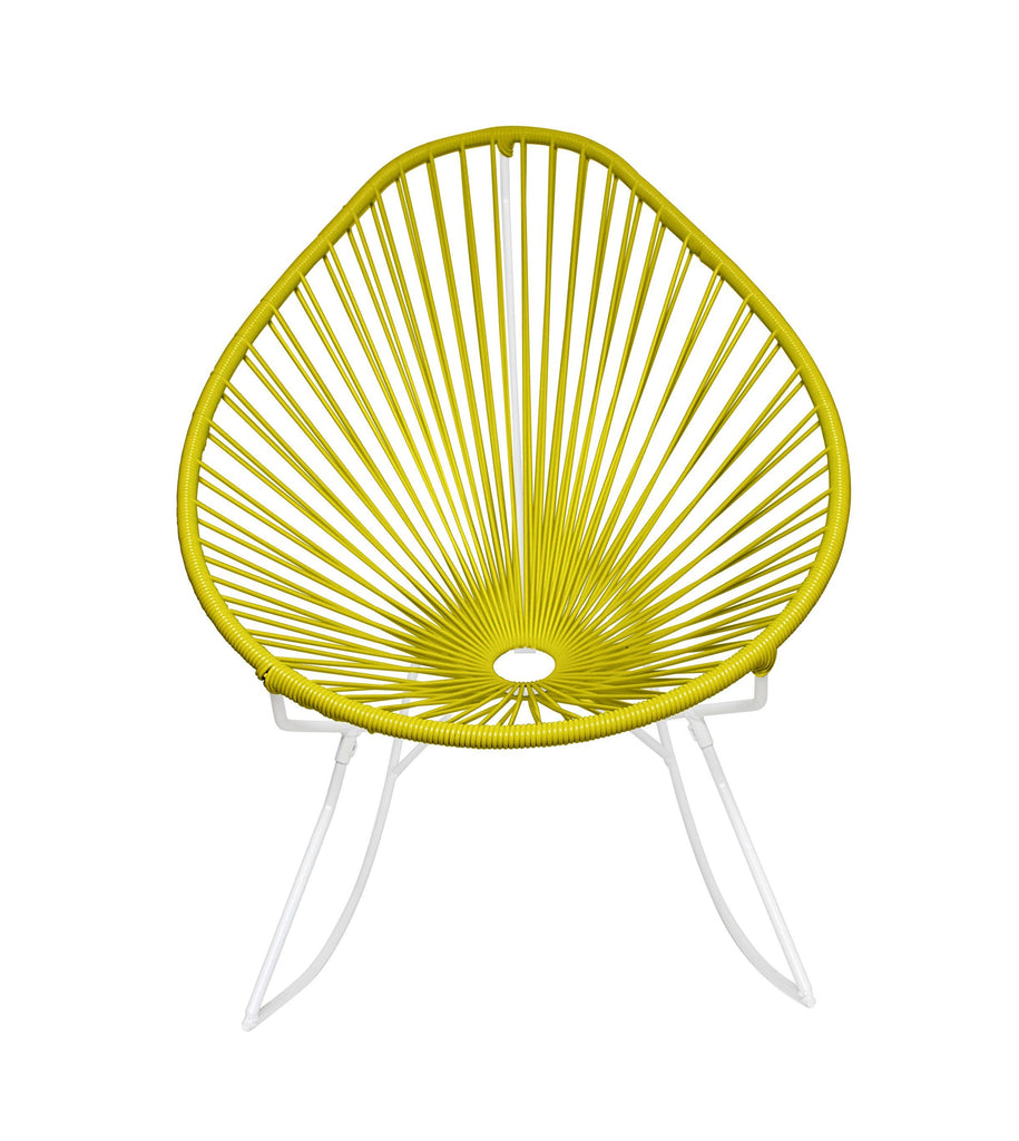 Outdoor Lounge Chair Yellow Weave on White Frame Acapulco Rocker on White Frame
